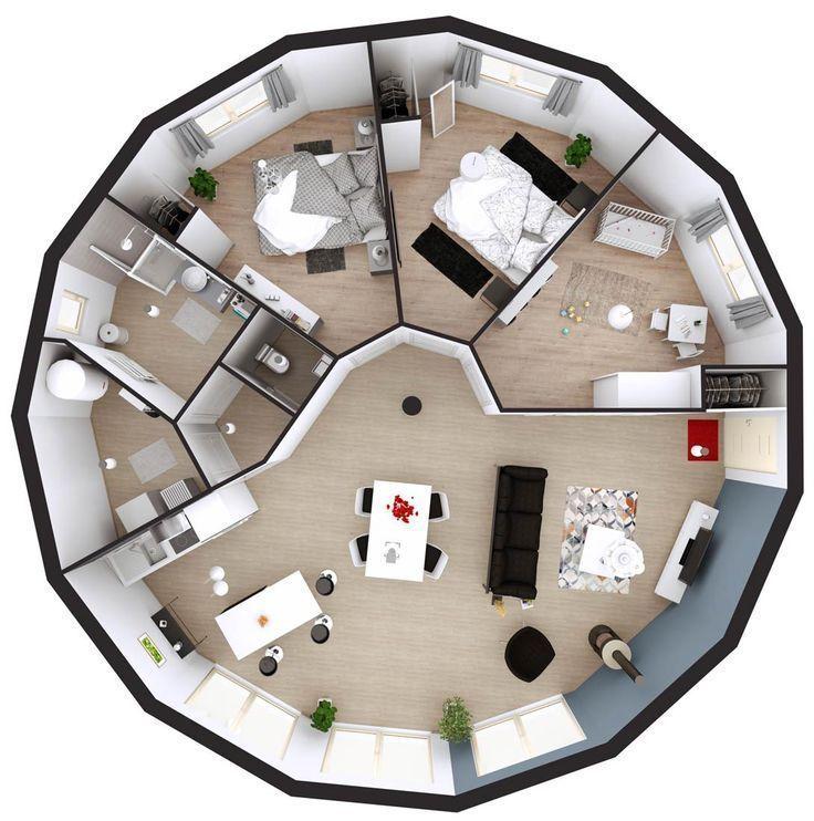Dome Home Design Ideas: Holzrahmenhaus Runder Plan 3d 15 Pfannen Eben Gesc