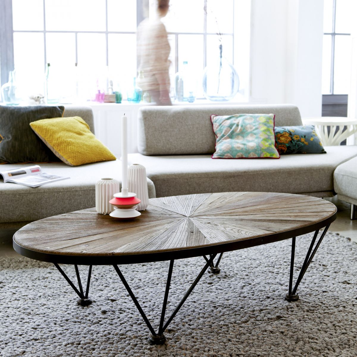 Lancelot Elm And Metal Coffee Table 140×80 Lounge Pinterest  # Meubles Tv En Bois D'Orme