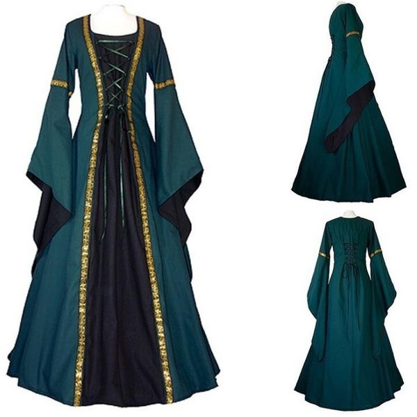 Women Medieval Renaissance Bell Sleeve Corest Cosplay Dress Costume  Gown