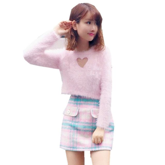 27.78 Aliexpress pink fluffy heart cut out sweater 2017 Korean Sweet Sexy  Woman Sweater Hollow Out