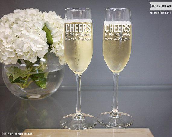 Wedding Gift - (TWO) Vina Toasting Flutes - Custom Engraved Champagne ...