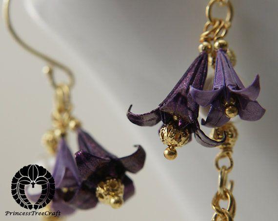Mini Origami Flower Earrings EggplantPurple by PrincessTreeCraft, $30.00