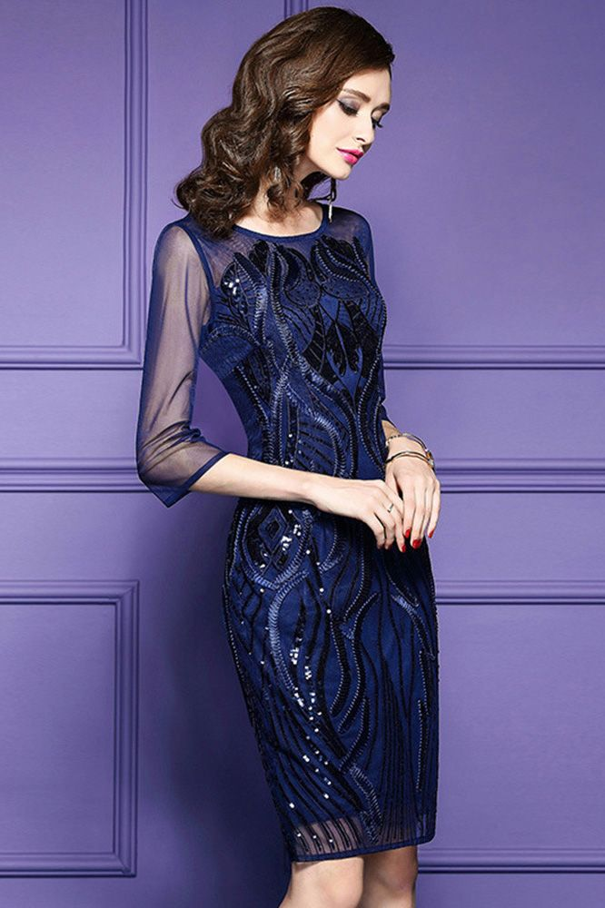 Classy Royal Blue Luxe Embroidered Cocktail Dress For Weddings ...