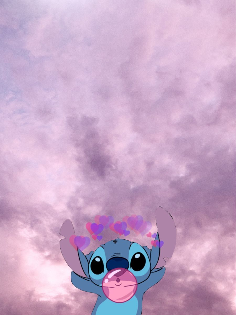 Stitch Purple Wallpaper Latar Belakang