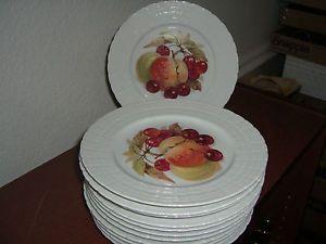 Set of 12 hutschenreuther hut93 fruit design salad plates 2 of each pattern & Set of 12 hutschenreuther hut93 fruit design salad plates 2 of each ...