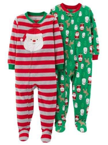 90f1a3de7 Carter s Infant Boys 2 Christmas Sleepers Set Santa Claus   Reindeer ...