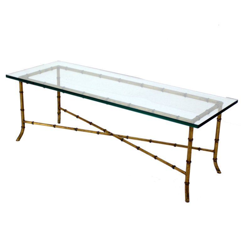 X Base Rectangular Mid Century Modern Gilt Faux Bamboo Glass Top Coffee Table Bamboo Coffee Table Coffee Table Faux Bamboo