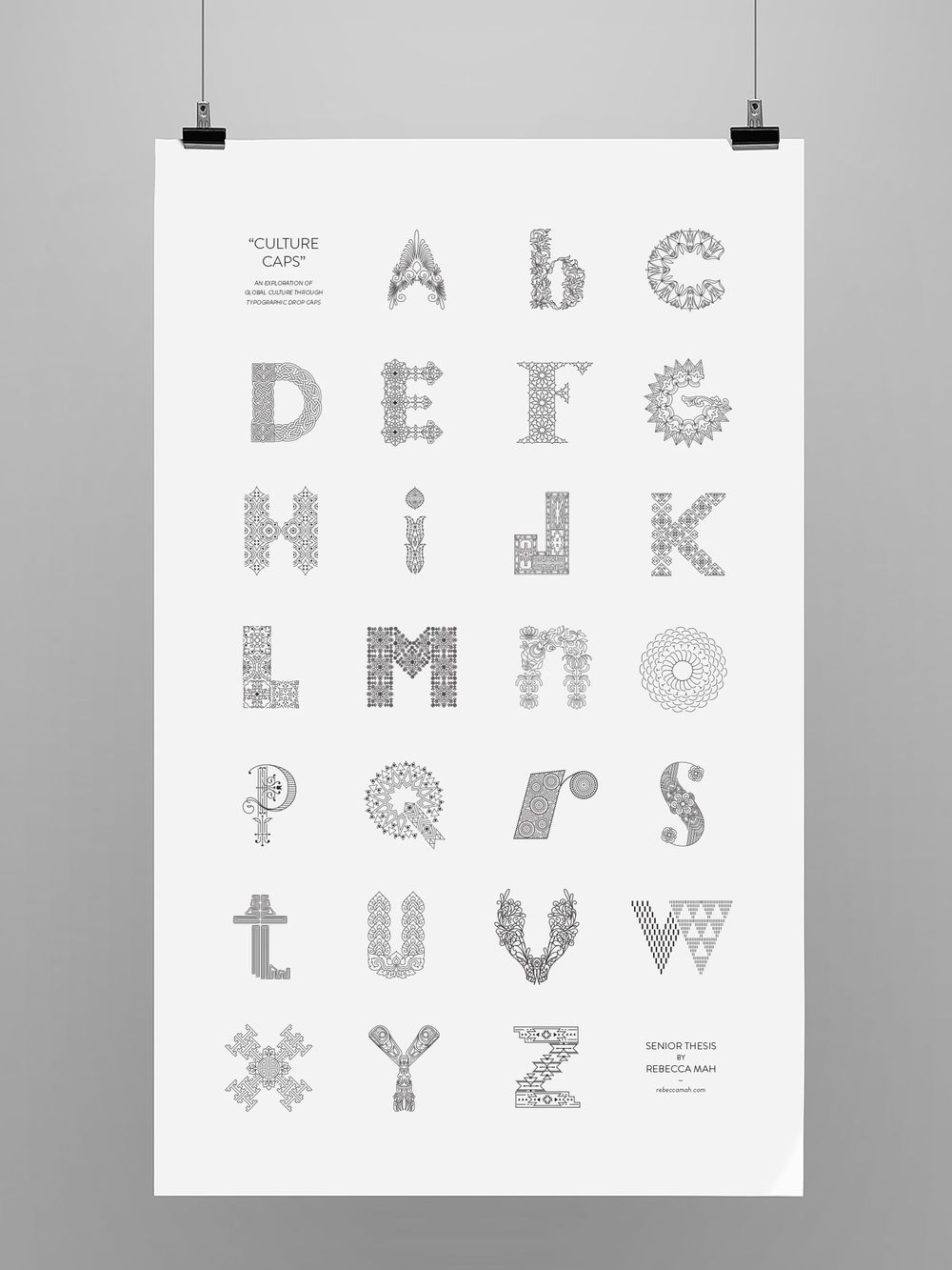 For her senior thesis, Tyler School of Art graduate Rebecca Mah created Culture Caps, a drop cap alphabet influenced by different regions corresponding to each letter.