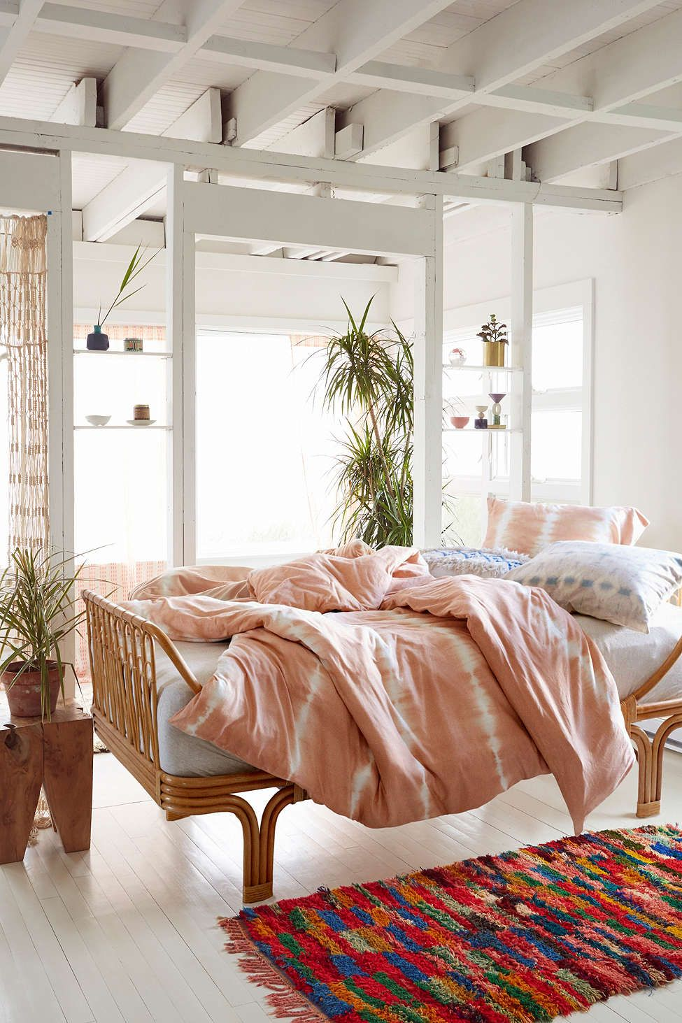 exciting bedroom style bohemian bedding | Light bohemian bedroom with a pink Urban Outfitters duvet ...