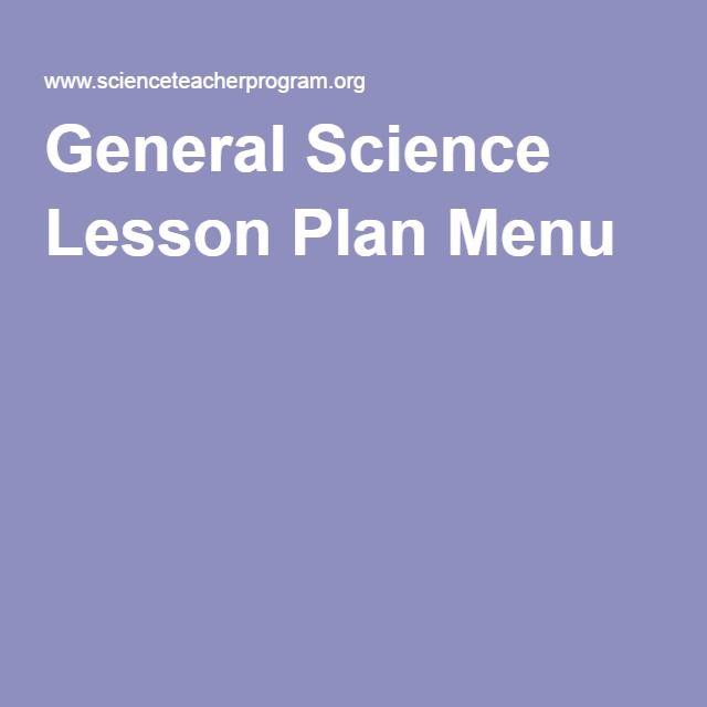 General Science Lesson Plan Menu