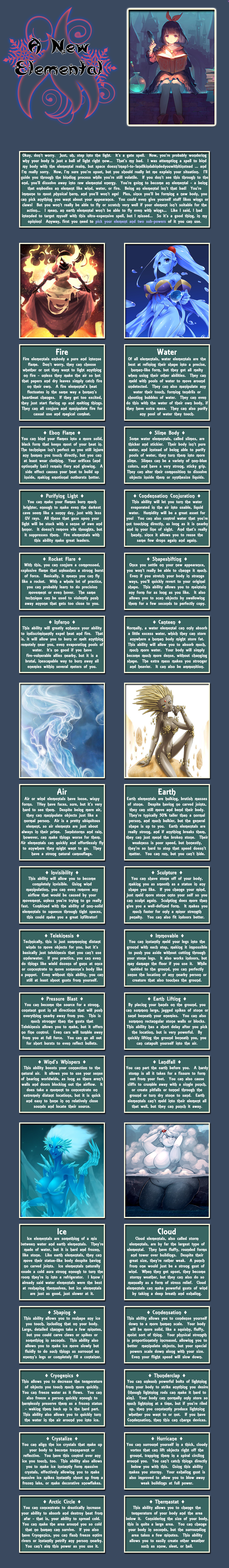 A New Elemental by Beri in 2019 | cyoa | Elemental powers