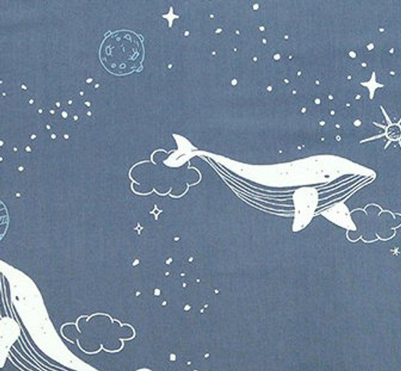 Fat Quarter Message In A Bottle Whales On Navy Blue 100/% Cotton Quilting Fabric