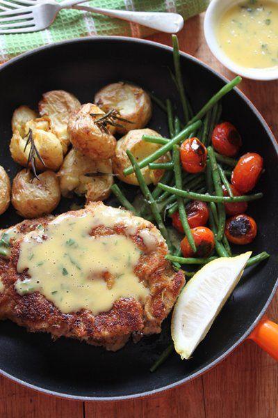 Juicy Crumbed Steaks With Garlic And Lemon Butter Sauce Lemon Butter Sauce Beef Recipes Beef Dishes
