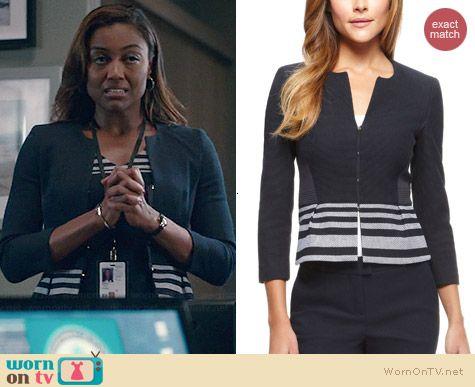 Daisy's striped panel jacket on Madam Secretary.  Outfit Details: http://wornontv.net/39187/ #MadamSecretary