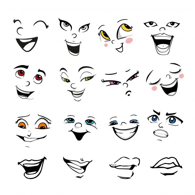Download Facial Expression Collection For Free Happy Face Drawing Cartoon Faces Expressions Cartoon Expression