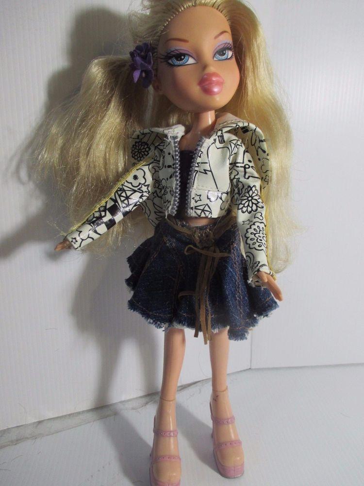 Bratz Doll Long Blonde Hair Pink Lips Jean Shorts Black Skirt Summer Top Long Blonde Hair Short Black Skirt Pink Hair