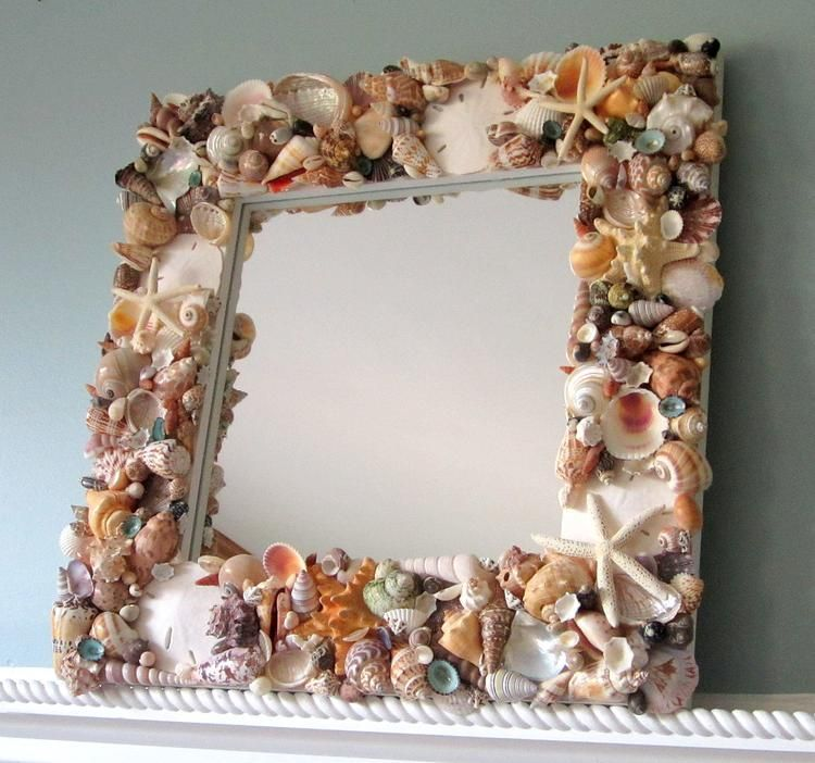 Photo of Beach Decor Seashell Mirror, Nautical Decor Shell Mirror, Coastal Decor Beach Mirror in WHITE or COLORS