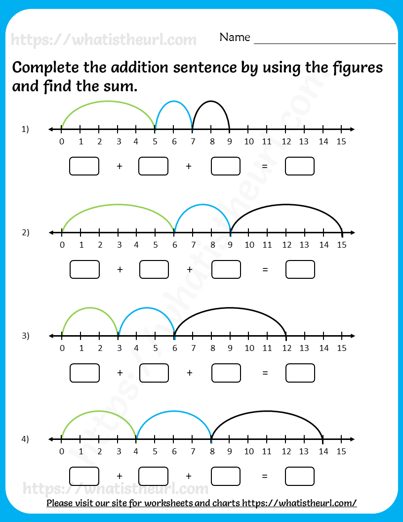 Addition Sentence Using Number Line Worksheets for Grade 2   2nd grade  worksheets [ 1056 x 816 Pixel ]