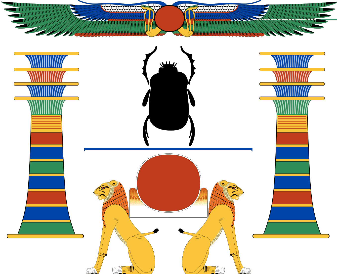 Winged Sunhorus Behedeti Ancient Egypt Combination Of Akertwo