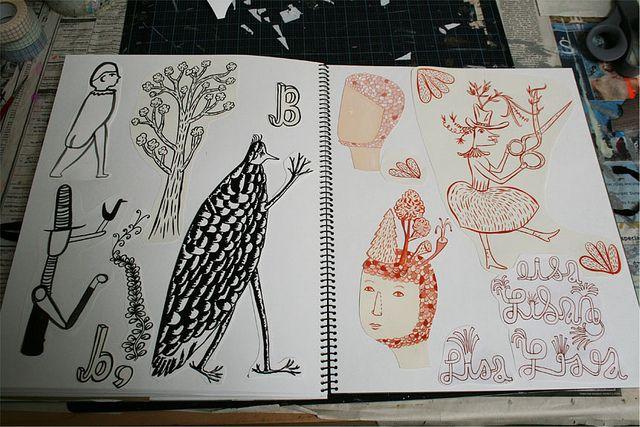 sketchbook pages by sarajo frieden, via Flickr