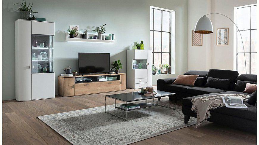 GALLERY M Wohnwand, 4-tlg »Malta« Typ 01 in moderner Farbkombi - wohnzimmer wohnwand weis