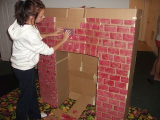 Make your own cardboard fireplace! Use a sponge to make ...