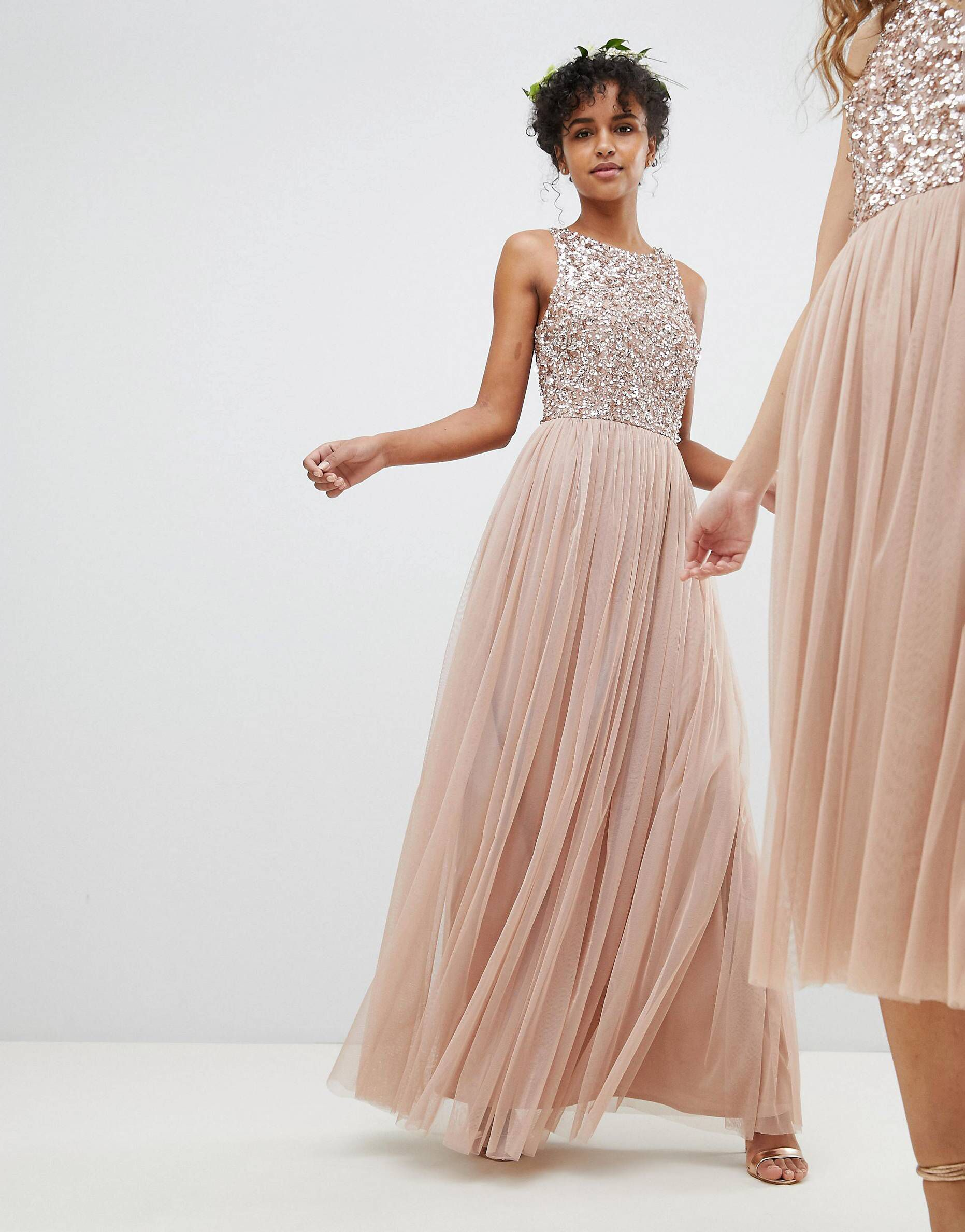 Maya sleeveless sequin bodice tulle detail maxi bridesmaid dress