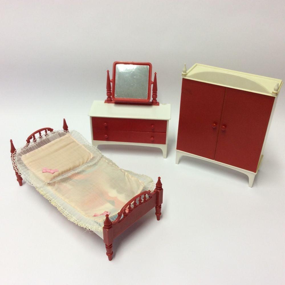 Vintage us palitoy pippa doll furniture set bedroom wardrobe