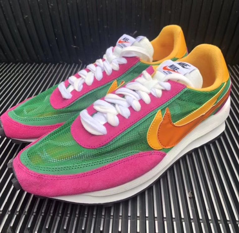 Sacai Nike Ldv Waffle Green Pink Yellow Bv0073 301 Release Date Sbd Pink Yellow Nike Nike Waffle