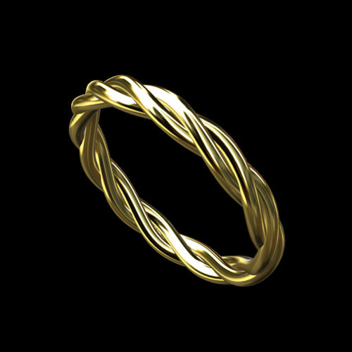 14k Gold Triple Twisted Rope Love Intertwined Infinity Wedding Band Ring 2 5mm Wide