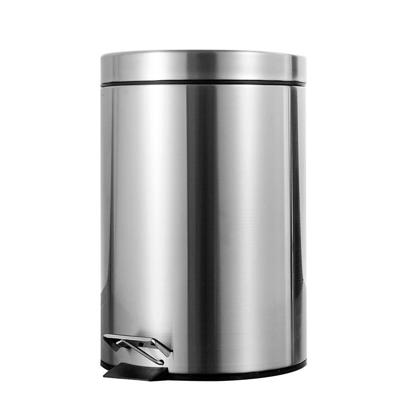7l Bathroom Trash Can Round Step Foot Pedal Dustbin Bucket With