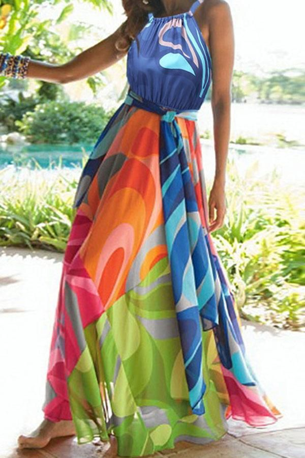 Bohemian Print Halter Neck Paneled Maxi Dress Mumudaily In 2020 Vacation Maxi Dress Maxi Dress Chiffon Dress Long