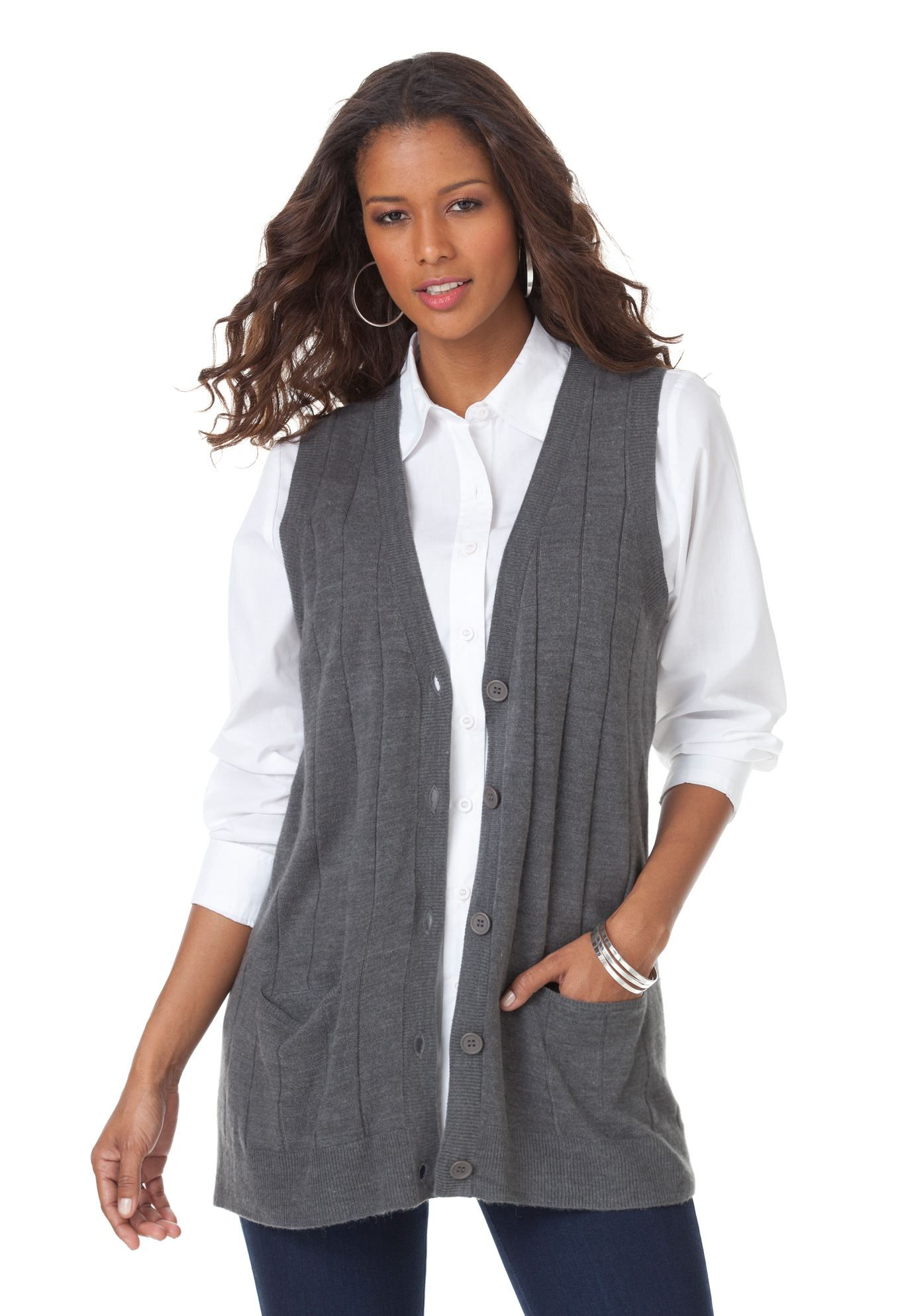 Fine Gauge Long Sweater Vest | Plus Size Vests | fullbeauty ...