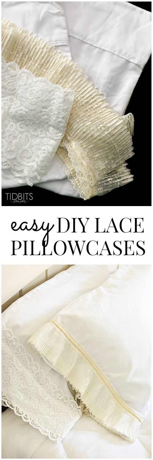 DIY Lace Pillowcase & DIY Lace Pillowcase | Lace trim Room and Sewing projects pillowsntoast.com