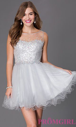 329ab3beb29a1 Short Sleeveless Dress with Sheer and Sequin Bodice at PromGirl.com