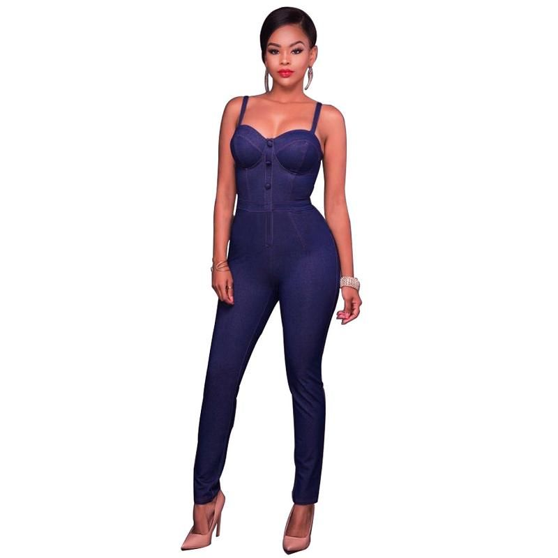 ca2fc1c1c396 Liva Girl 2017 Sexy Bodycon Long Denim Jumpsuit Spaghetti Strap Maxi  Playsuit Women Romper Overalls  Affiliate