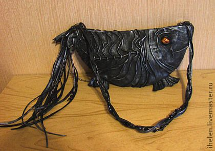 """Женские сумки ручной работы. Клатч """"Черная рыба"""". Ihelen. Ярмарка Мастеров. Клатч из натуральной кожи, натуральная кожа"""