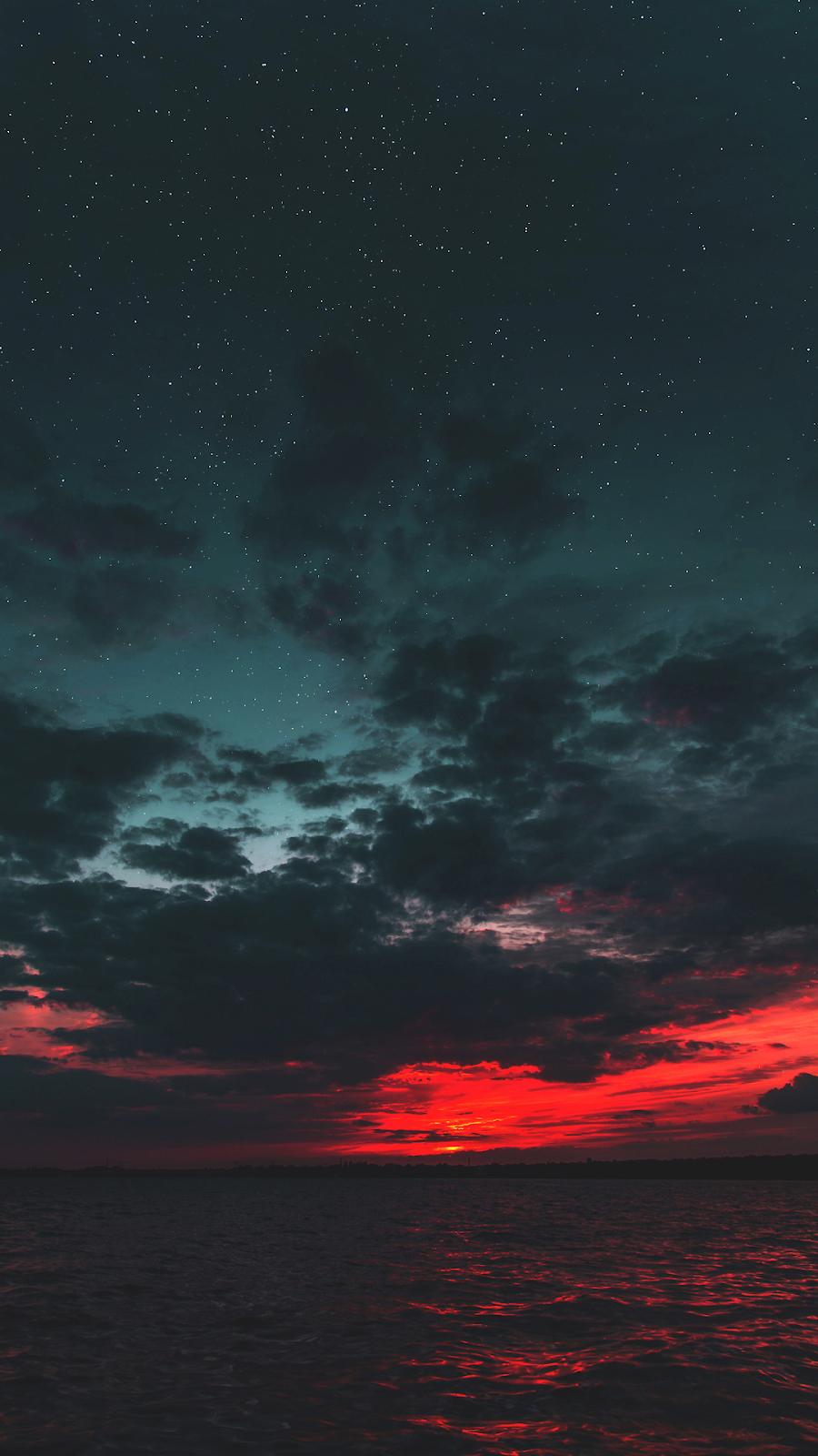 Wallpaper art akiobako girl nature sunset sky clouds stars