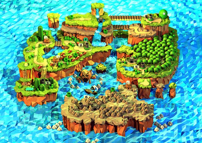 I love this fanart of the super mario world world art canadian digital artist steph caskenettes low polygon super mario world map is just stunning wi gumiabroncs Gallery