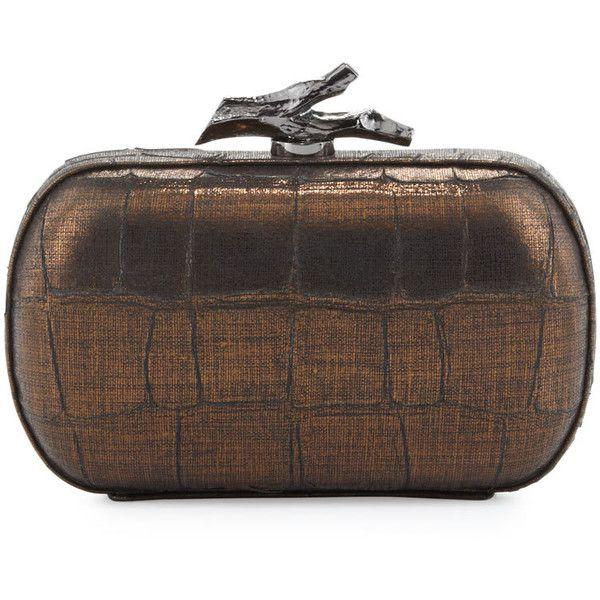Lytton Croc-Embossed Clutch Bag, Black-Bronze - Diane von Furstenberg (495 PLN) found on Polyvore