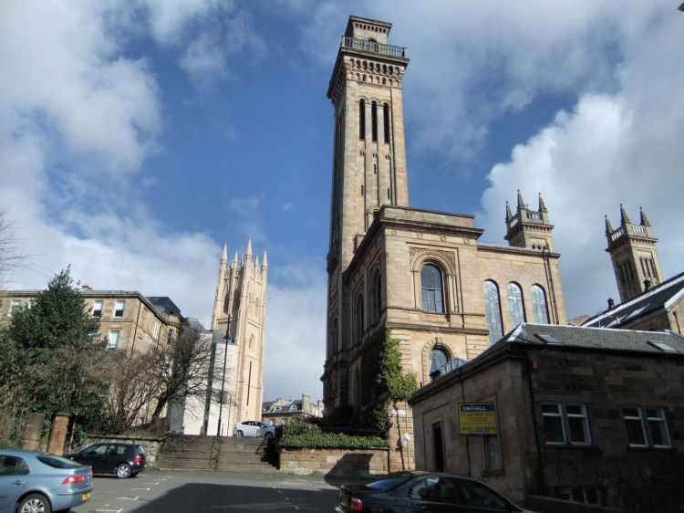 Towers of Park Church and Trinity College Glasgow