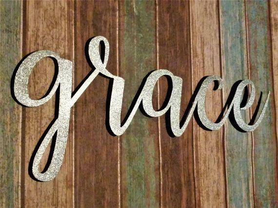 Grace Sign, Farmhouse Wall Decor, Grace Wall Art, Rustic Word Sign ...