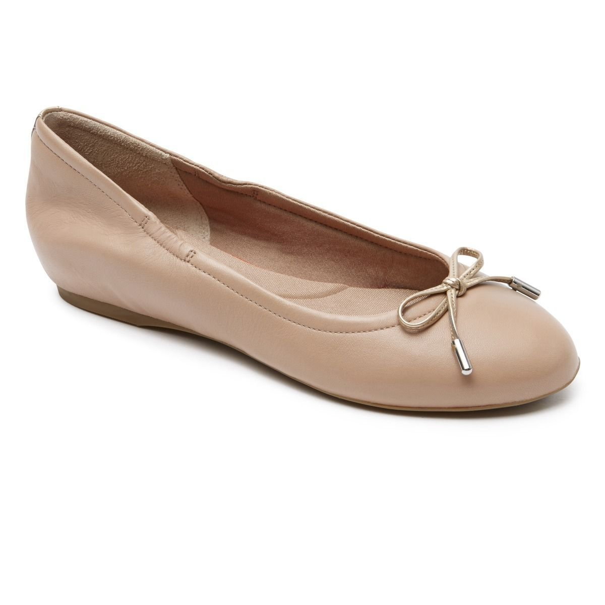 Rockport Women's Total Motion Hidden Wedge Tied Ballet Flats Taupe Nappa  V80270
