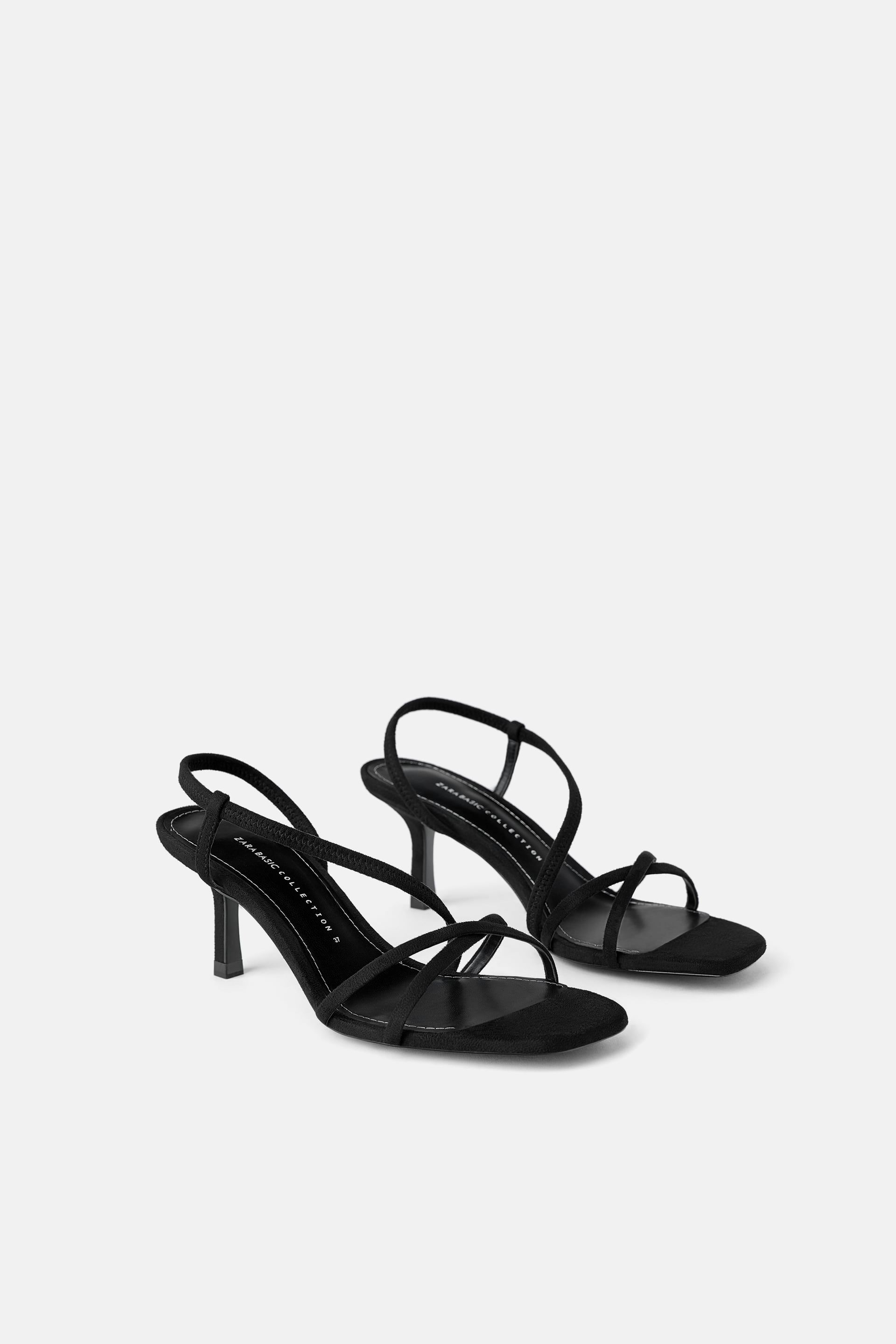Mid height heeled elastic strap sandals | Mid heel sandals