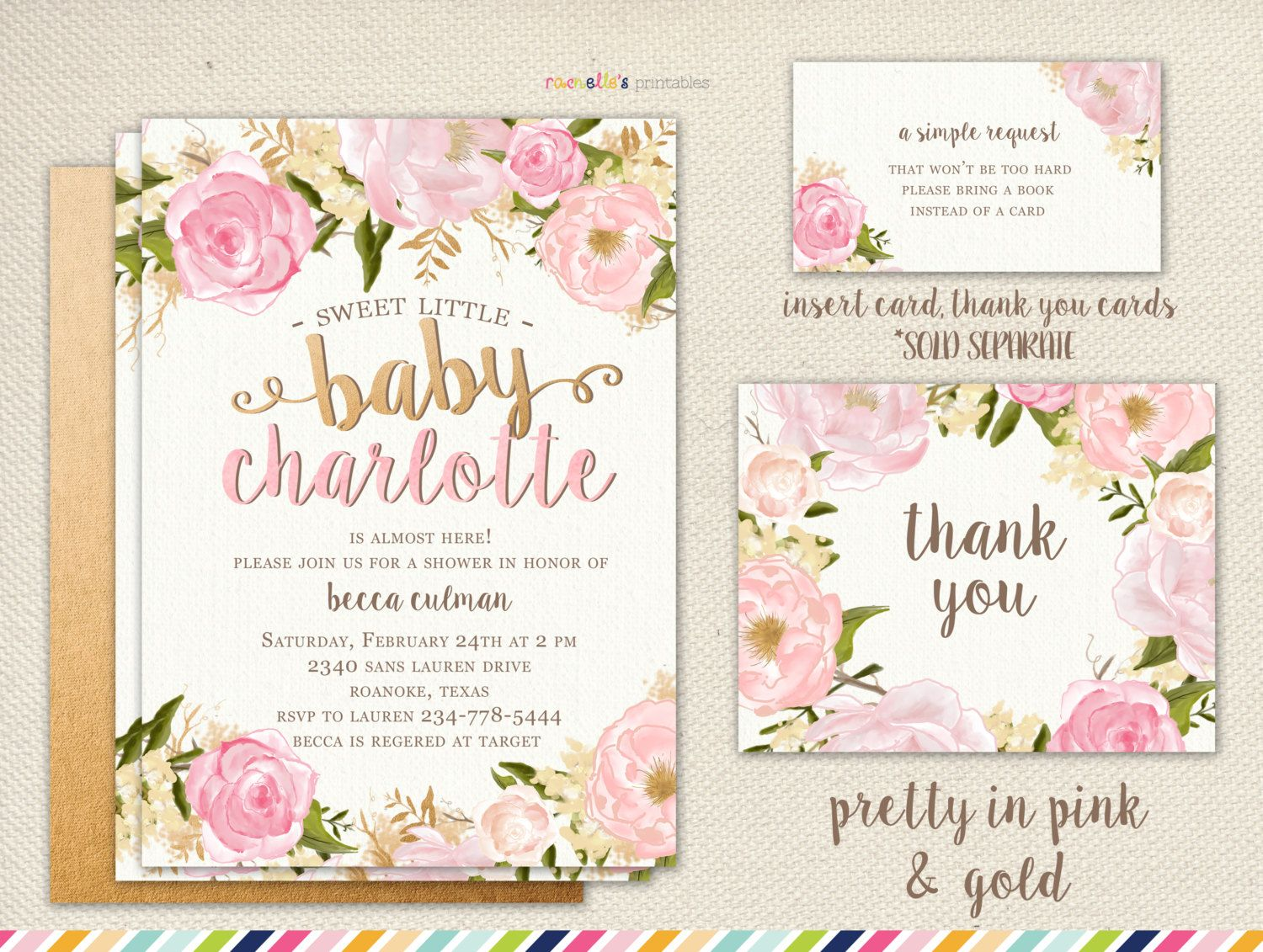 Girl Baby Shower Invitation - Flowers and Pink Summer Spring, Rose ...