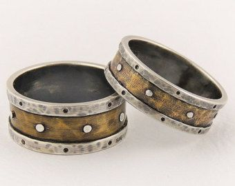 Rustic Wedding Ring Set Fine Silver And Copper Br Handmade Oxidized Bands Customized