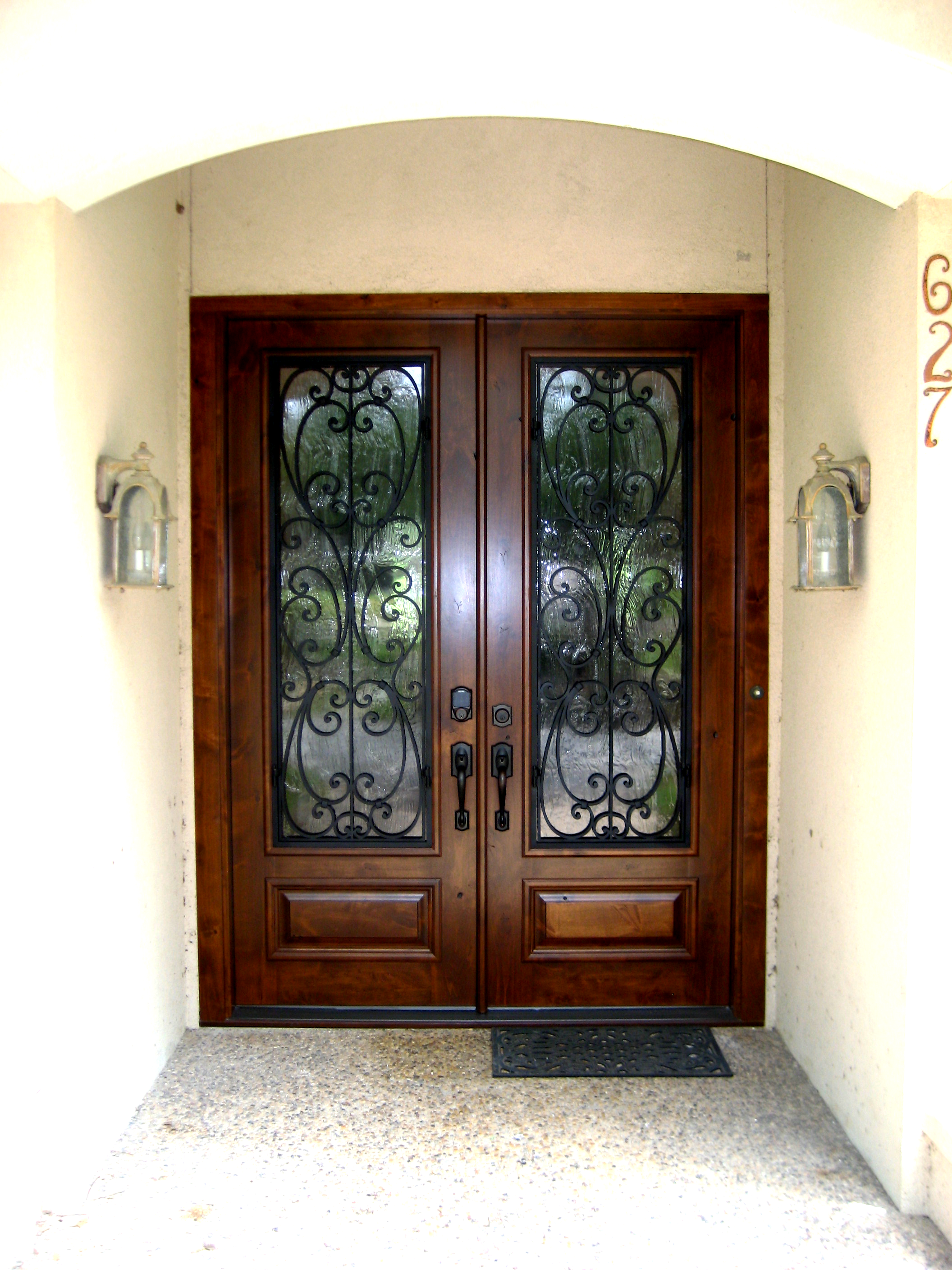 Wood And Wrought Iron Grill Double Door This Front Door Entry Door
