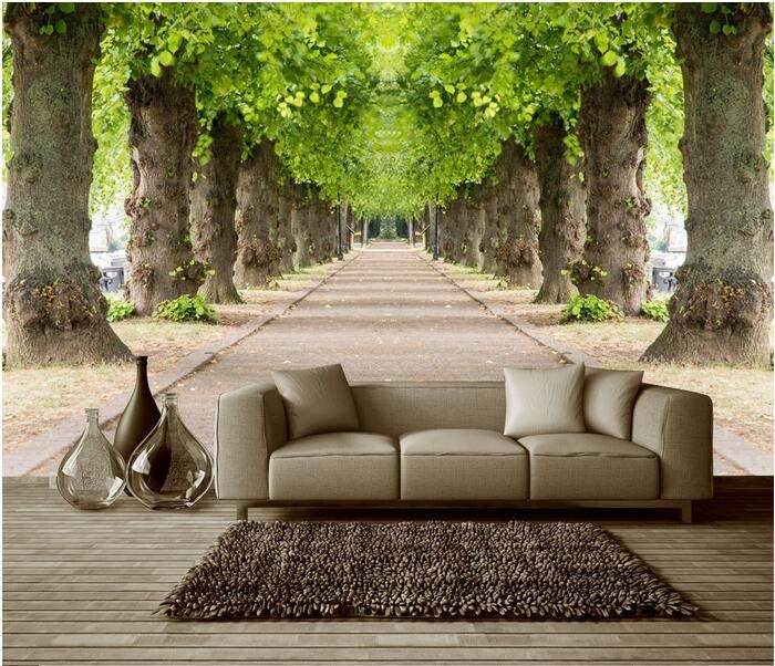 Amazing Living Room Wallpaper Cream Sofa Designs 3d Custom Mural Non Woven Forest Road 3 D Space Background Wall Photo Murals