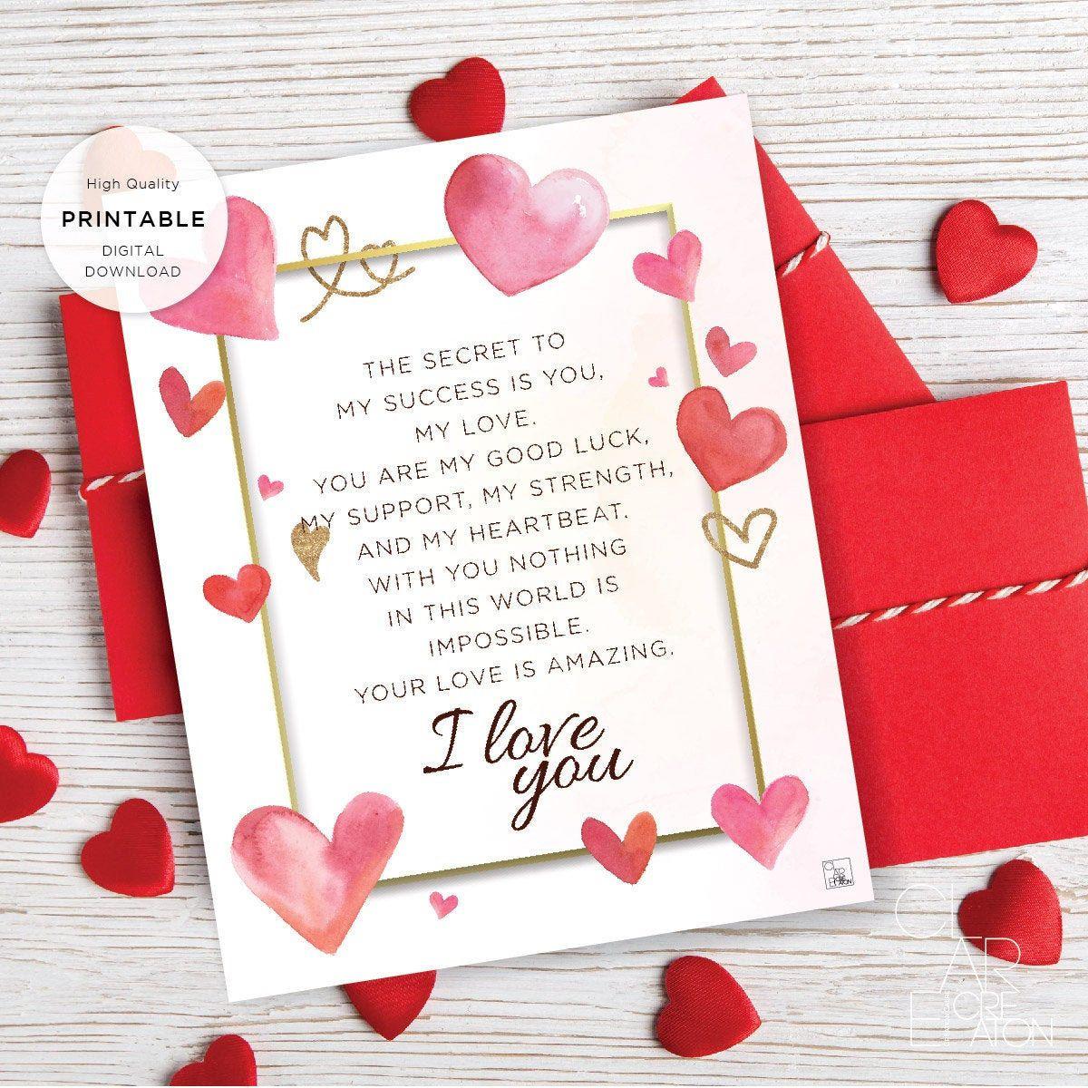 Printable Valentine S Day Letter Love Letter Valentines Etsy Valentines Card For Husband Valentines Day Love Letters Valentines Letter