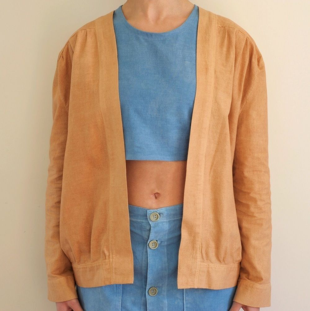 cotton flannel bomber jacket naturally dyed with onion Soğan